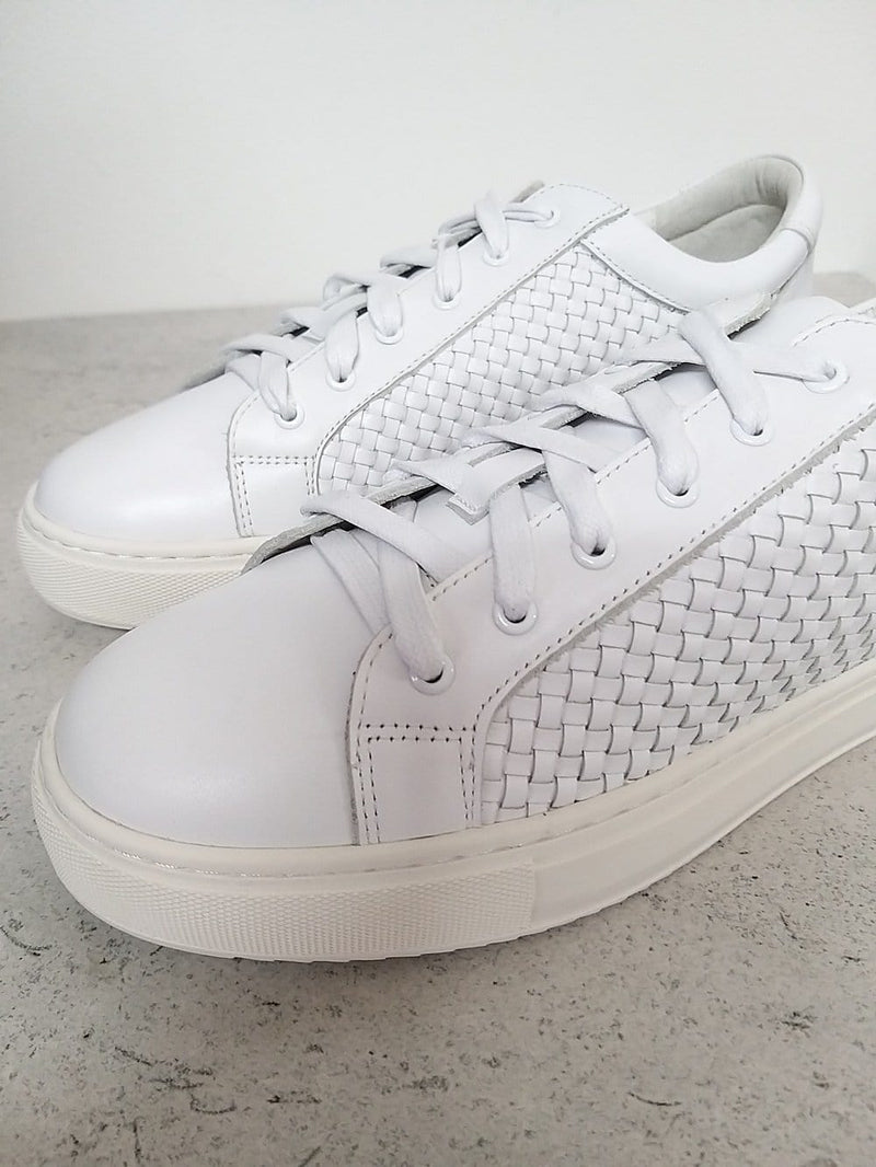 White leather trainers with woven side panels | soft and comfortable trainers