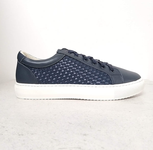 Stylish and comfortable navy leather trainers | woven leather trainers