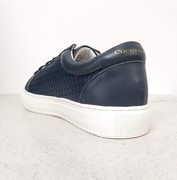 Versatile, chic and comfortable navy leather trainers | women's designer trainers