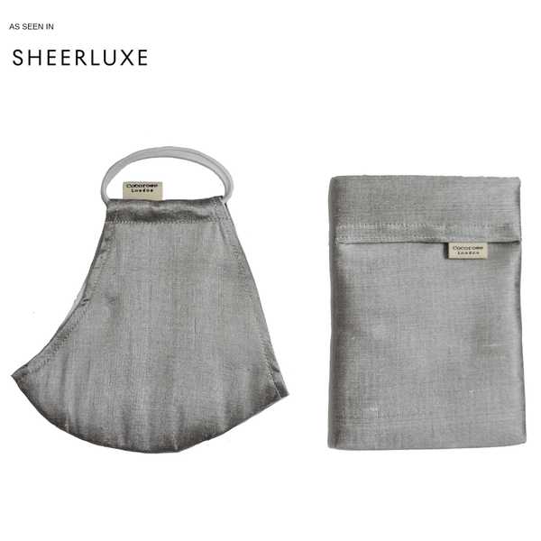 Silk Face Mask with Filter Pocket and Matching Pouch - Grey Pearl