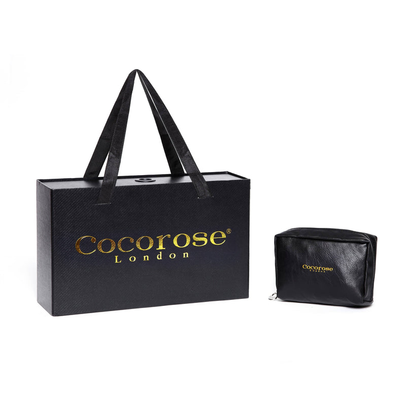 Cocorose London Packaging | Black and Gold Presentation Box and Purse