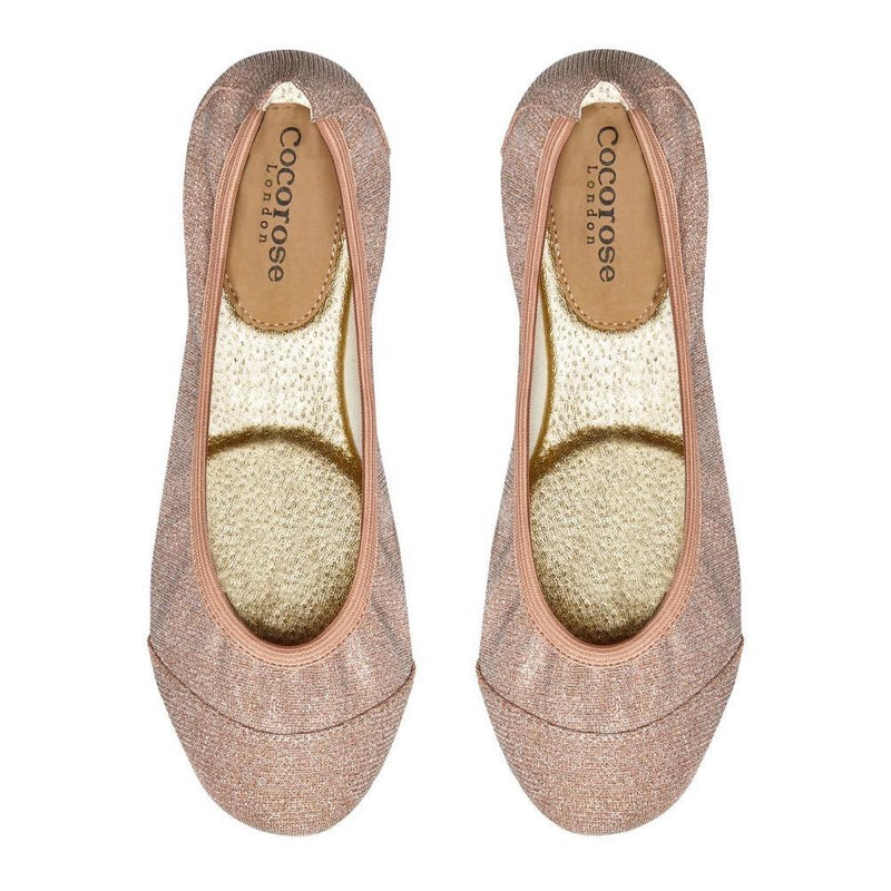 Shimmery and glittery pink foldable shoes with matching storage case for everyday wear and foldability