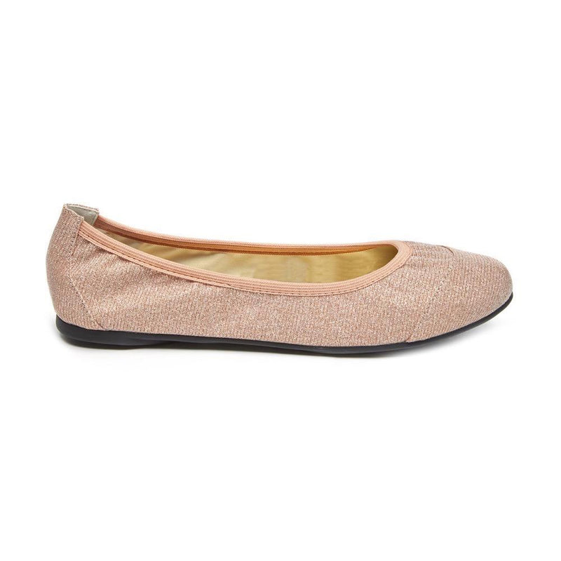 Sparkly pink fold up ballet flats with cushioning and padding for comfort