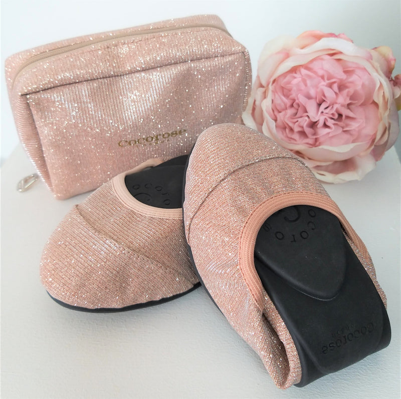 Sparkly pink folding shoes with storage pouch | fold up ballet flats in pink | foldable shoes rose coloured with travel purse