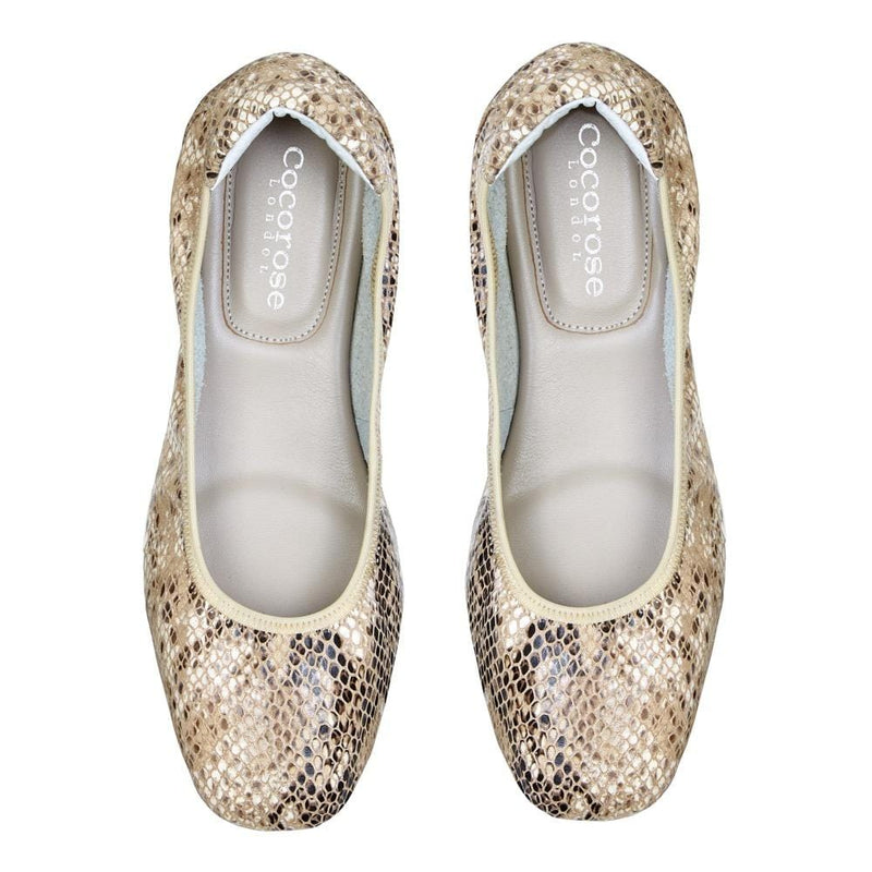 Cocorose Champagne Snake Print  Folding Barnes Leather Shoes