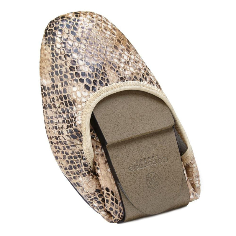 Cocorose Champagne Snake Print Foldable Barnes Shoes