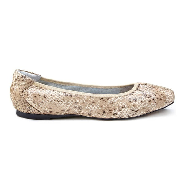 Cocorose Champagne Snake Print  Foldable Barnes Leather Shoes