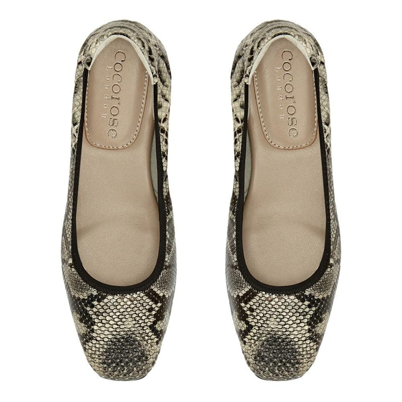 Cocorose Grey Snake Print  Folding Barnes Leather Shoes