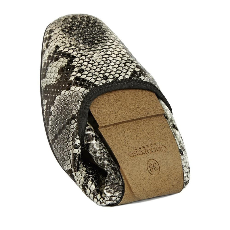 Cocorose Grey Snake Print Foldable Barnes Shoes