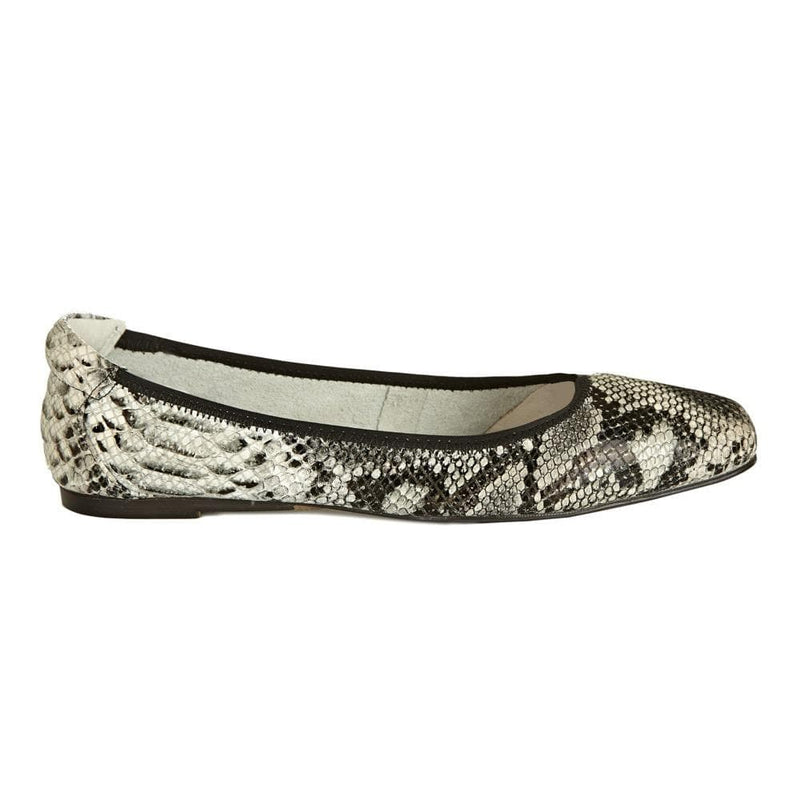 Cocorose Grey Snake Print  Foldable Barnes Leather Shoes