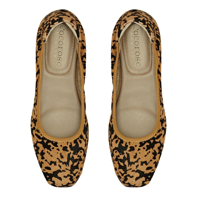 Cocorose Leopard Print Folding Barnes Leather Shoes