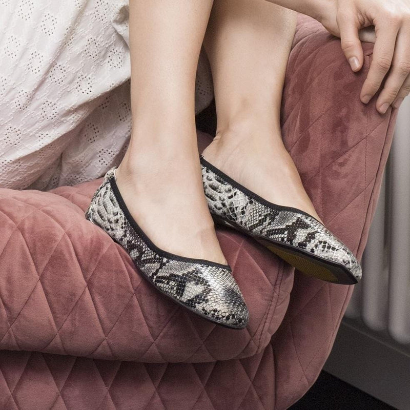Cocorose Grey Snake Print  Foldable Leather Shoes