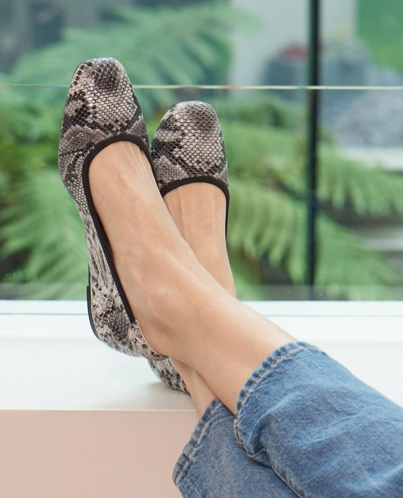 Soft Leather Grey Snake Print  Fold Up Barnes Leather Shoes