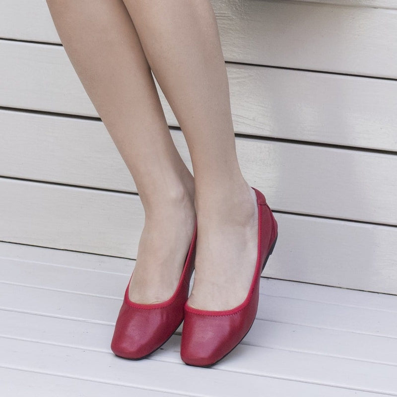 Cocorose Red Foldable Leather Shoes