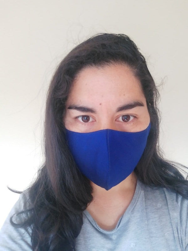 Blue silk face mask with filter pockets | good coverage and snug fit | luxurious face mask gift