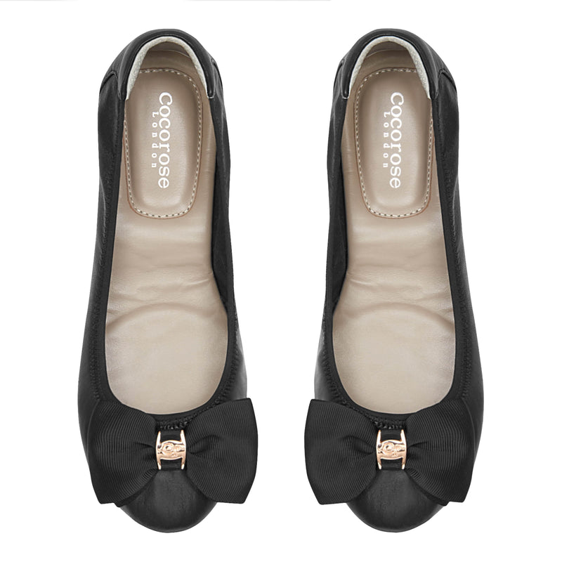 Buckingham - Black Leather Ballerina