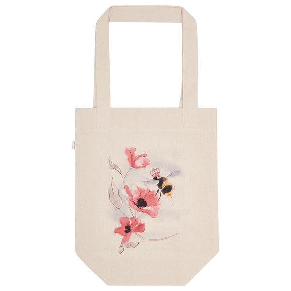 Durable and heavy weight cotton canvas tote bag with hand drawn and painted bumble bee illustration