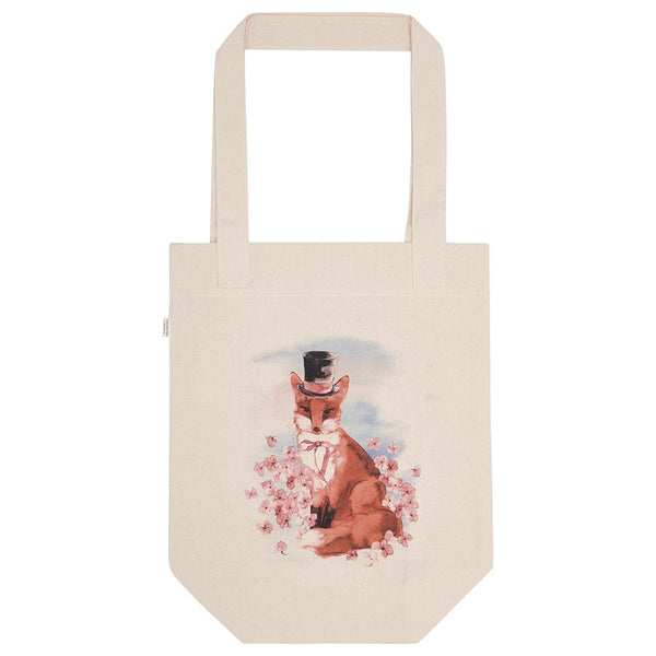Canvas shopping bag with hand painted illustration of quirky fox