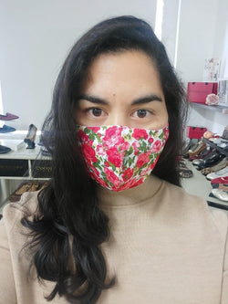 Non medical face mask with floral rose print design | angled cut for maximum coverage