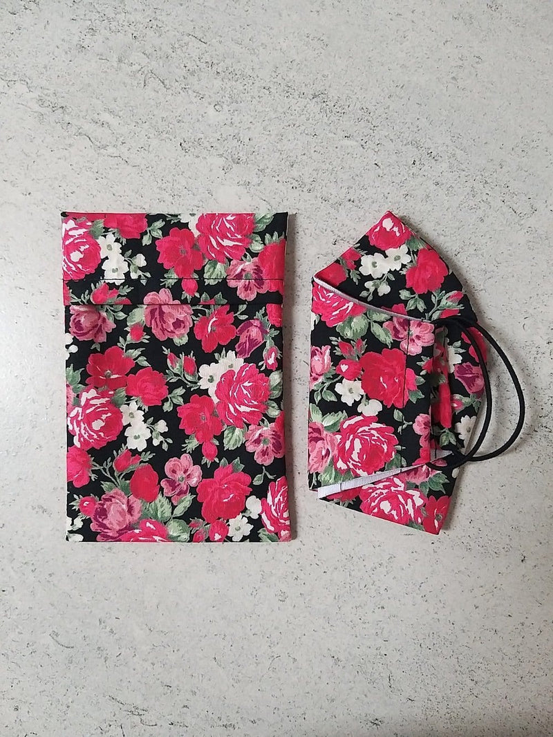 cotton face masks floral rose design with matching storage pouch bag