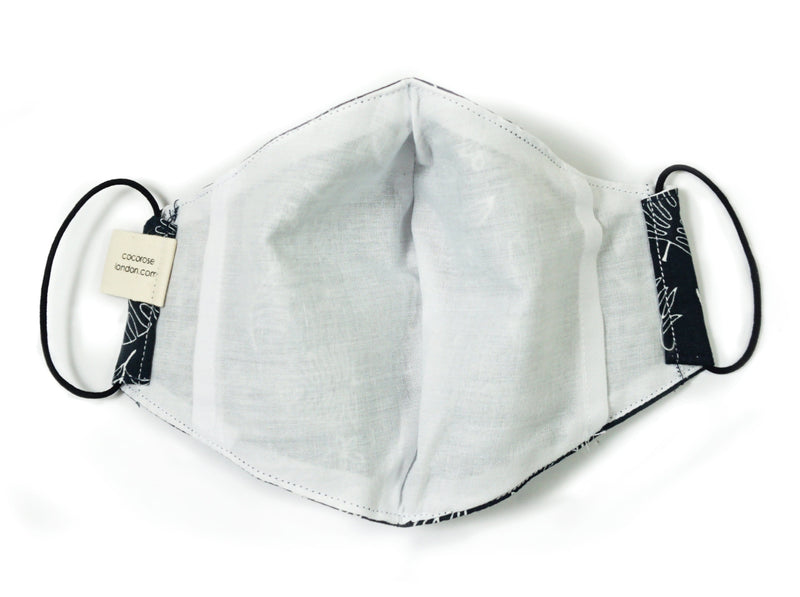 Cotton Face Mask with Filter Pocket and Matching Pouch - Dark Navy with White Ferns
