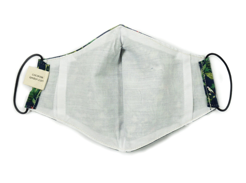 Cotton Face Mask with Filter Pocket and Matching Pouch - Tropical