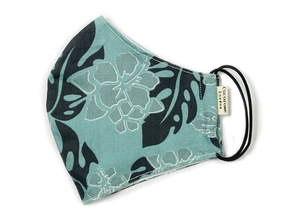 Sea Green and Blue Hibiscus Floral Print cotton facemask with adjustable ear loops and filter pocket