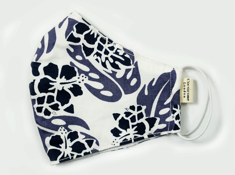 Cotton Face Mask with Filter Pocket and Matching Pouch - Floral Print Blue