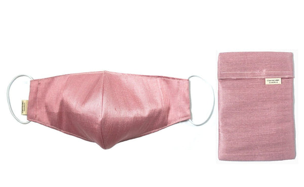Blush pink silk face mask, soft on the skin and breathable so helping to avoid maskne | with matching silk pouch