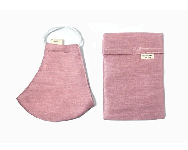 Beautiful and elegant blush pink silk face mask and matching silk pouch, ideal for weddings and everyday luxury