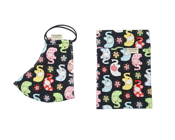 Children's and Kids playful and fun face mask with pouch in a colourful elephant print