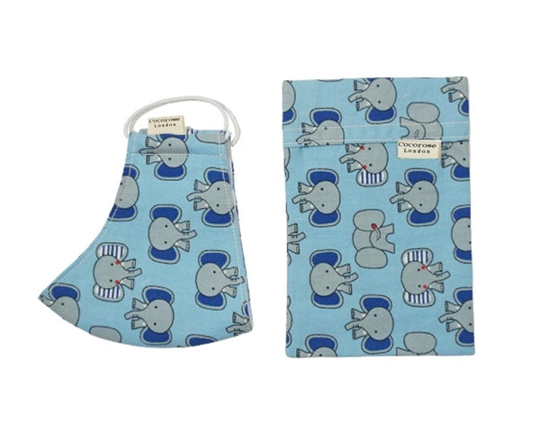 Children's and Kids Face Mask in a fun blue and grey elephant print with matching storage pouch