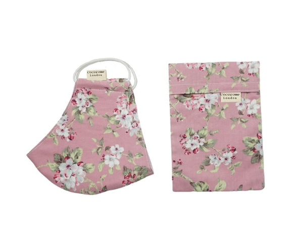 Pretty and stylish Pink face mask with floral print