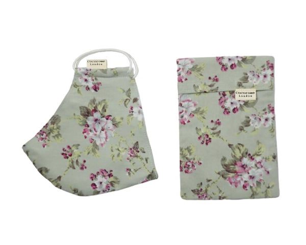 Pretty floral, light green sage face covering with matching storage pouch. Filter pockets, angled and contoured cut and won't steam up your glasses or spectacles. Adjustable ear loops.