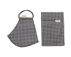 Gingham print face covering with filter pocket and doesn't steam up glasses