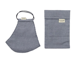 Gingham navy face mask with filter pocket and matching storage pouch