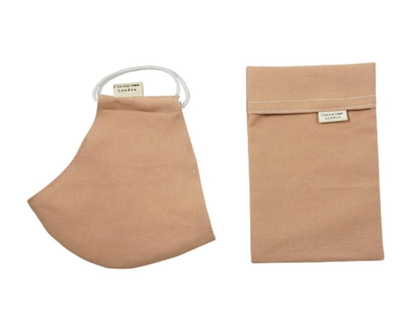 Plain terracotta beige face mask with filter pocket and snug fit