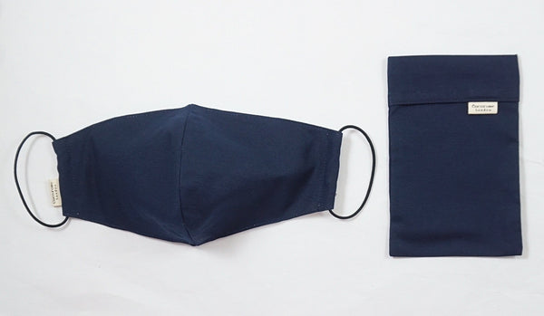 Navy cotton face mask with filter pocket and adjustable ear loops