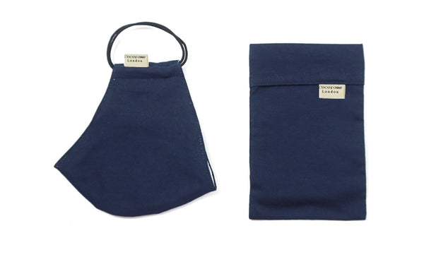 Quality, well made and stylish face mask in plain navy cotton with matching pouch