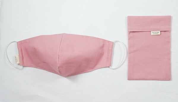 Plain pink cotton face mask | stylish and protective with matching pouch