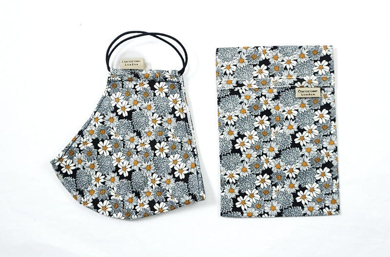 Daisy flower print cotton face mask with filter pocket and matching storage bag pouch