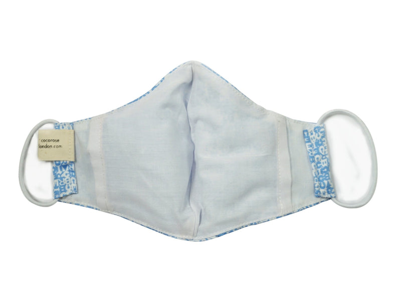 Children's Cotton Face Mask with Filter Pocket and Matching Pouch - Blue ABC