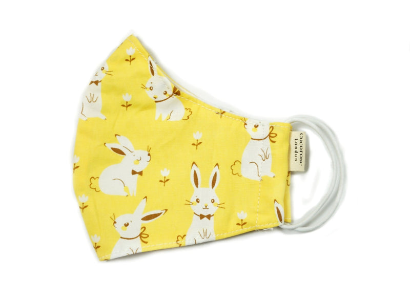 Children's Cotton Face Mask with Filter Pocket and Matching Pouch - Yellow Rabbits