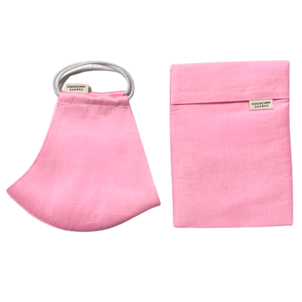 Bubble Gum Pink Silk Face Covering with Filter Pocket and Adjustable Elastic Loops and Matching Silk Pouch