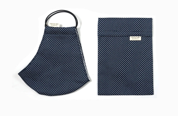 Quality, well fitting facemask and face covering in navy with white polka dots | doesn't steam up glasses | With filter pocket and adjustable elastic ear loops | protection and safety against covid coronavirus