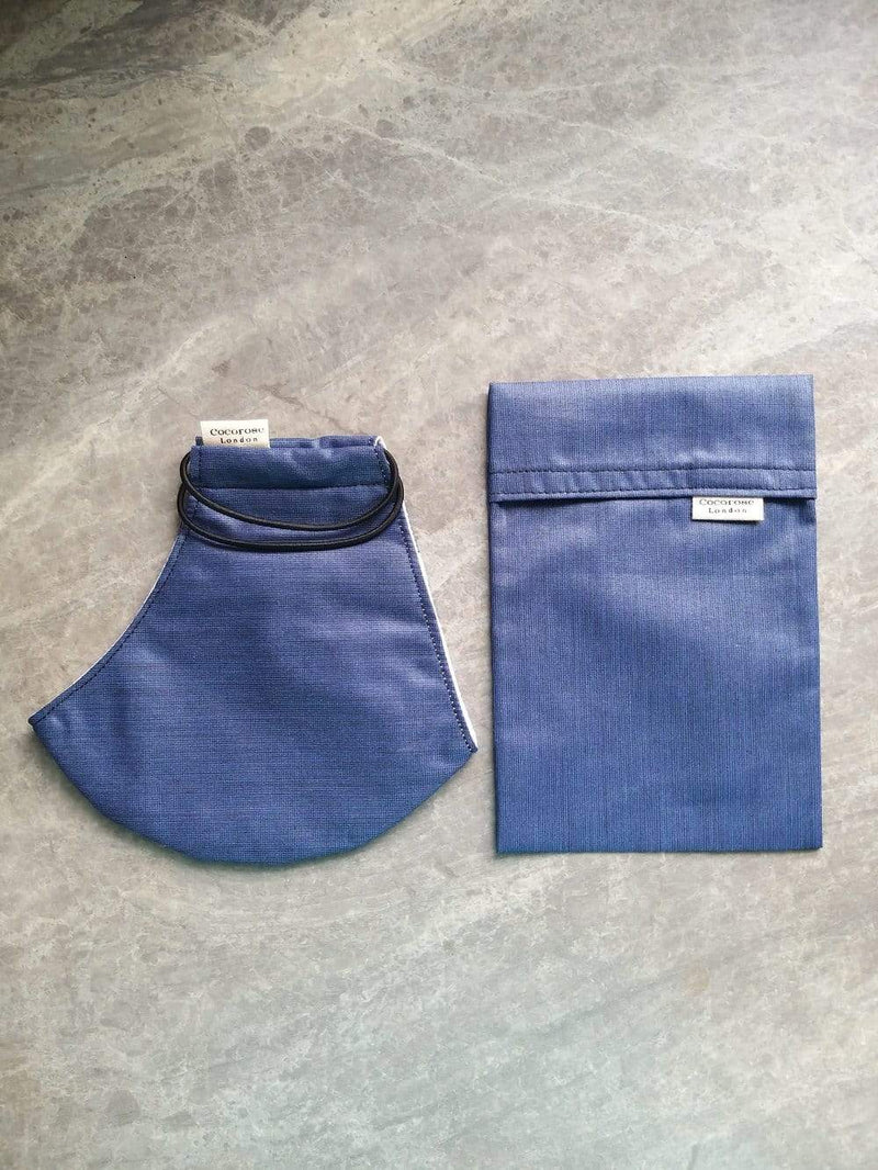 Cotton Face Mask with Filter Pocket and Matching Pouch - Dark Blue