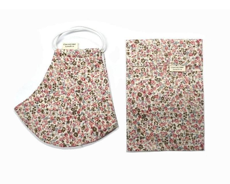 Cotton Face Mask with Filter Pocket and Matching Pouch - Laura Pink