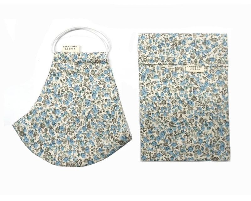 Cotton Face Mask with Filter Pocket and Matching Pouch - Laura Blue