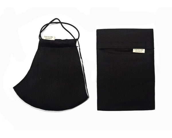 Silk Face Mask with Filter Pocket and Matching Pouch - Black