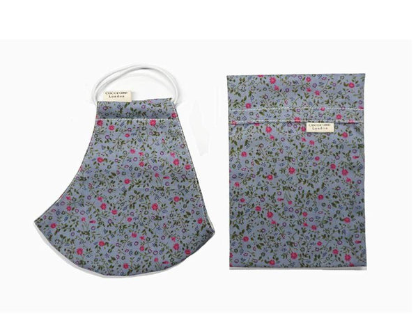 Cotton Face Mask with Filter Pocket and Matching Pouch - Emily Blue